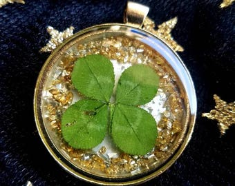 Real Four Leaf Clover Pendant, found in nature #70