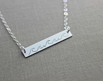 Wave Necklace - 925 sterling silver skinny bar - sideways horizontal bar necklace - Beach Jewelry - Ocean necklace - gift for her