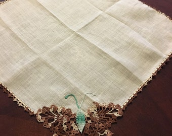 Vintage BUTTERFLY Crocheted Handkerchief Hankie Brown Green Crochet Cotton