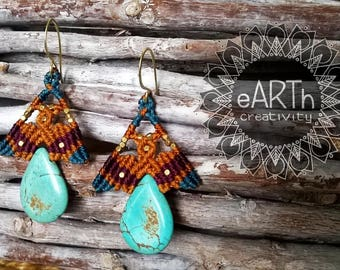 Macramé Earrings with Turquoise-macramé Earrings with Turquoise
