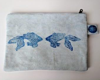 Hand Printed Waxed Zipper Pouch: Denim Fish