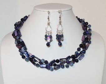 Cobalt Blue, Blue, Purple, Black, Mother of Pearl Shell, Acrylic, Glass, Non-Tarnish Silver Plated Wire, Wire Crochet, Necklace, Earrings