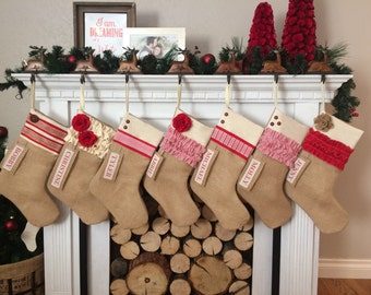 Personalized Christmas Stocking: Red and White Collection Rustic Burlap Christmas stocking rustic christmas custom christmas stocking