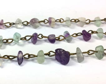 1 meter bronze chain and 5 to 9mm (CH43) fluorite chips