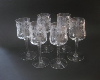 6 Early 1900s Fuschia Design Cordial Stemware Glassware Set of 6 Aperitif Vintage