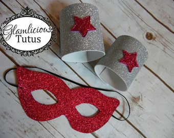 Super hero mask & cuffs | MORE colors | Child and Adult listing