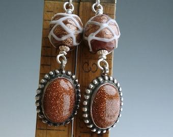 Antique Murano Glass Goldstone Sterling Earrings