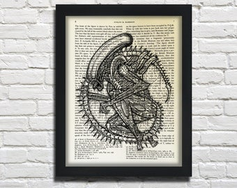 Alien, printed on Vintage Paper - dictionary art print, book prints