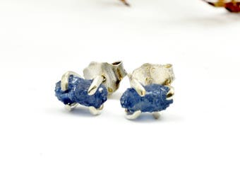 Raw sapphire stud earrings, sterling silver tiny sapphire earrings  stone studs blue stone earrings Organic jewelry September birthstone