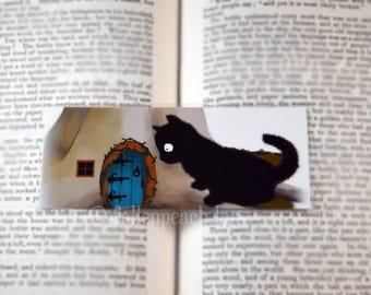 Black Cat Finds a Faerie Door Bookmark - Original, Laminated Illustration
