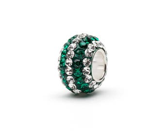 Green With Clear Stripe Crystal Charm