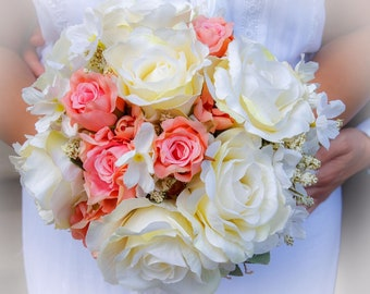 Handmade rustic faux peach and ivory wedding bouquet.