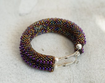 Purple Steampunk Earrings, Violet and Amber Hoop Earrings, Beaded Hoops, Amber Hoops, Evening Jewelry, Elegant Accessories,  Spiky Earrings