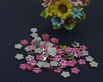 Pink flower rhinestone applique shape acrylic (x 20)