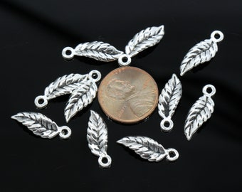 15 Pcs Tiny Leaf Charms Antique Silver Tone 20x6mm - YD1235