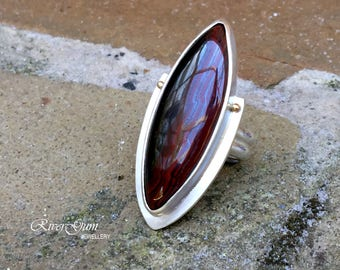 Sterling Silver Statement Ring, Brown Tiger Iron Ring,  Gemstone Ring, Size 8.75, Size R, Handmade by RiverGum Jewellery