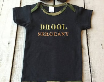 Baby Camo Boy, Baby Camo Outfit, Drool Sergeant Bodysuit, Camo Booties, Baby Boy Clothes, Embroidered Gift, Baby Shower Gift