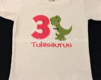 Girl dinosaur birthday shirt, T rex birthday shirt, Personalized dinosaur shirt, girl birthday shirt, 3rd birthday, third birthday, dinosaur