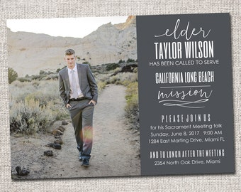 LDS Missionary, Missionary farewell invitation, Elder, Printable (Called to Serve Missionary farewell invitation)