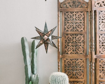 Vintage Mexican Punched Tin Star Light