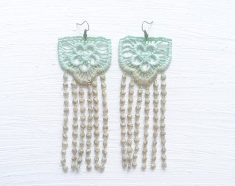 Mint and Tan Ombre Lace Statement Earrings