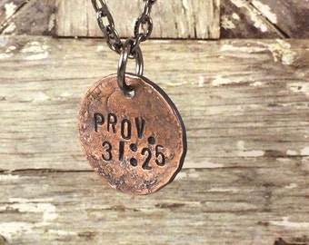 Prov. 31:25 Scripture Penny Charm Necklaces, Bible Verse Necklace, Mom Necklace, Inspirational Necklace, Gift Idea for Women, Mom, Sister