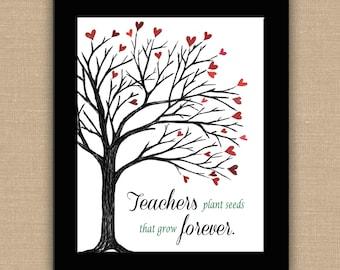 Teachers Plant Seeds That Grow Forever PRINTABLE. Custom Teacher Name. Teacher Appreciation. Classroom Decor. Teacher Wall Art. Any size.