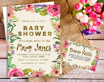 Garden baby shower invitations set of 10 garden invitations garden baby shower invitation watercolor floral invitation baby shower invitation filmwisefo Images