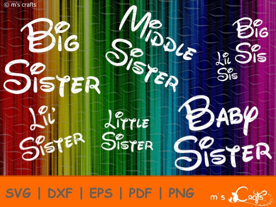 Lil Sis Big Sis Little Baby Middle Big Sister | Papercut Pattern ...