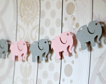 Elephant Garland - Grey and Pink Baby Shower - Baby Elephant Banner - Die Cut Party Decor - Table Decorations - Baby Girl Baby Shower