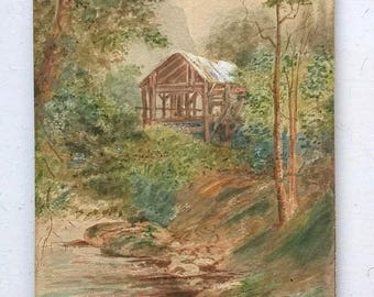AEW 1884 Signed Vintage Antique Original Miniature Watercolour Painting of Alpine Shelter with Mountains & Stream