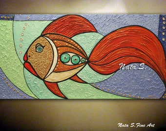 "Original Fish Painting, 48"" Abstract Textured Large Artwork, Modern Fish Painting, Decorative Accents, Fun Gift, Home Office Decor by Nata S"