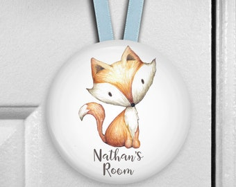Baby fox nursery decor - bedroom door signs for kids - baby shower gift - personalized door hangers - personalized baby gifts HAN-PERS-4
