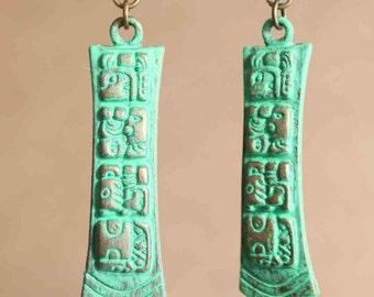 Green Boho Earrings Patina Earrings Dangle Drop Earrings Ethnic Earrings Boho Jewelry Lightweight Gift for her Gift for women Gift ideas