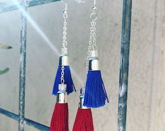 Red and Blue Double Tassel Drop Earrings With Silver Hardware