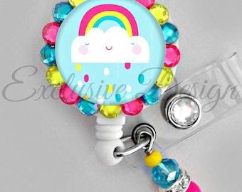 Cute rainbow cloud ID badge reel (E289)