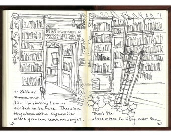 """Fine Art Print of Ink Drawing from Artist Travel Journal - """"Shakespeare and Co., Paris"""""""