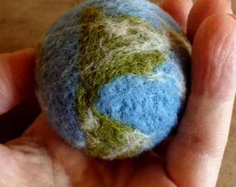 Needle Felted Earth Ball - Wool Felted Plush Planet - Single Planet of Solar System - Geekery Gift - Earth Science - Earth Day - Felt Earth