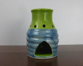 Unique Tealight wax warmer, tealight diffuser, Blue ceramic diffuser, tealight oil diffuser, tealight fragrance diffuser