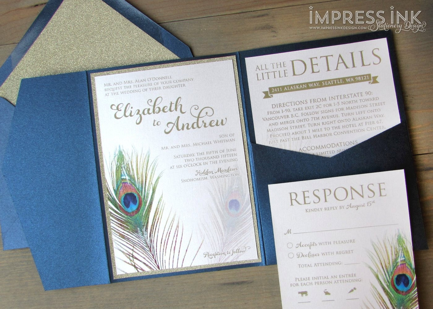 Peacock Feather Wedding Invitation: Peacock Feather Wedding Invitation Sample Flat Or Pocket