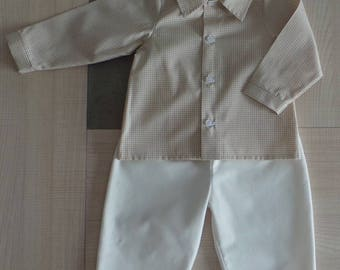 set of 12 month shirt Plaid and white pants