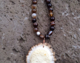 Banded Agate & Antler Button Necklace