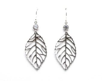 CZ Leaf Earrings, Drop Earrings, Dangle Earrings, Wedding Jewelry, Bridesmaid Jewelry, Mother's Day