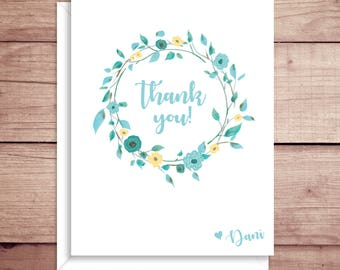 Wreath Note Cards - Folded Thank You Note Cards - Floral Note Cards - Floral Stationery - Wreath Thank You Note
