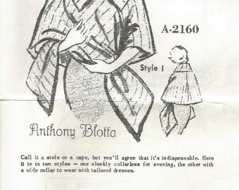 1960s Cape Stole Shrug Shawl Day Evening Designer Anthony Blotta Spadea A-2160 Size Medium Bust 35 - 36.5 Women's Vintage Sewing Pattern