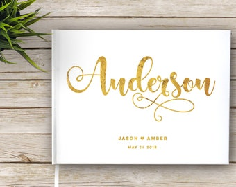 Gold Foil Wedding Guest Book, Custom Wedding Guest Book with Gold Foil, Wedding Guest Book, Gold Foil and White, Real Foil, Wedding Journal