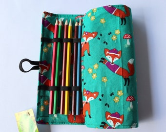 Large Pencil Roll - Holds 24 pencils (included) - green fox, woodland, forrest