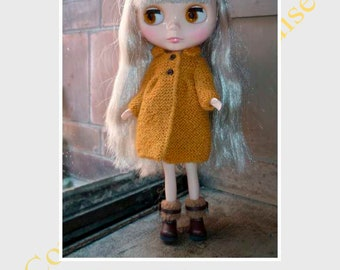 FRENCH PDF Pattern for Blythe knitted coat