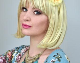 Yellow Camellia Flower Crown Headband | Yellow Flower Crown | Bridesmaids Headband | Bridal Headband | Festival Headband | Floral Headband