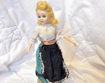 """1950's Doll - 7"""" Costume Doll - Peasant Girl Doll"""